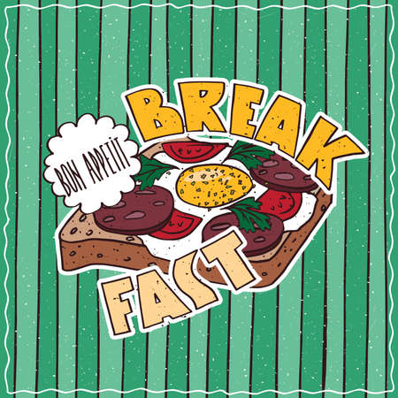 Conspicuous bright colorful food poster with delicious egg and sausage toast in cartoon style, on green striped background. Lettering Breakfast and Bon Appetit