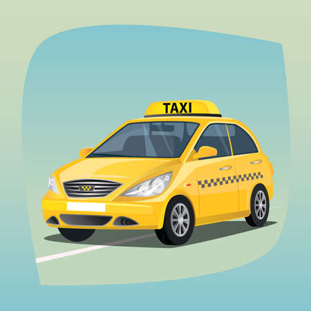 Isolated, detailed images of three-dimensional taxicab, yellow car with luminous taxi top sign, the main device of taxi drivers in cartoon style. Side front view