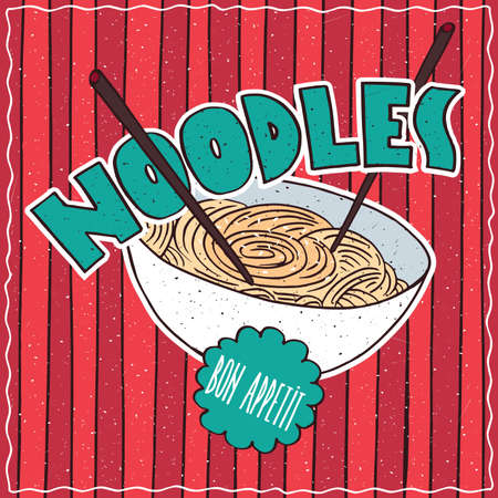 conspicuous: Conspicuous bright colorful food poster with bowl of delicious wheat noodles in cartoon style, on red striped background. Lettering Noodles and Bon Appetit Illustration