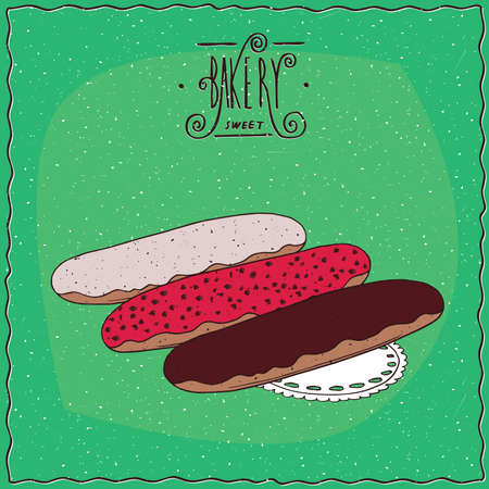 afters: Three different glazed eclair, brown chocolate, red berries and white sugar, lie on lacy napkin. Green background and ornate lettering bakery. cartoon style Illustration