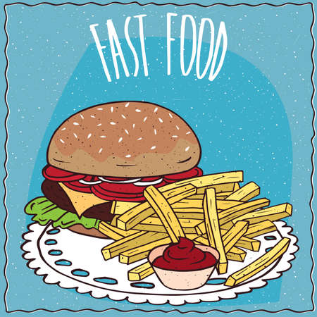 chips and salsa: Classic steak burger with tomato, cheese, steak and lettuce and french fries or finger chips with red liquid flavoring, similar to salsa sauce or ketchup