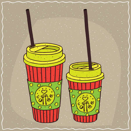 afters: Set of two, different sizes, festive paper cups of coffee with tubes and ornate lettering Coffee. Beige background. cartoon style Illustration