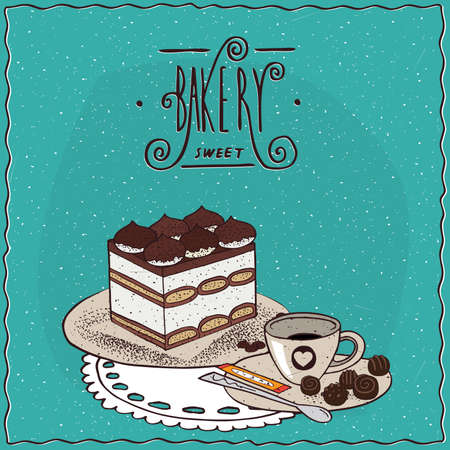to lie: Traditional classic Italian dessert tiramisu with cup of coffee, lie on lacy napkin. Cyan background and ornate lettering bakery. Handmade cartoon style