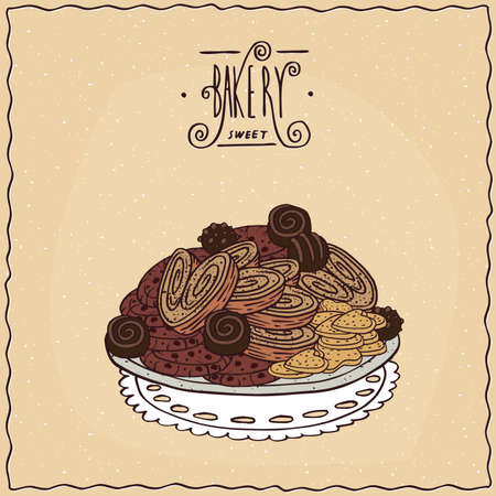 different courses: Many different chocolate cookies and biscuits of puff pastry, lie in a heap on a lacy napkin. Beige background and ornate lettering bakery. cartoon style Illustration