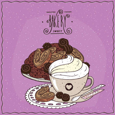 drinkable: Cup of coffee with many different chocolate cookies and biscuits of puff pastry, lie on lacy napkin. Ornate lettering bakery. cartoon style Illustration