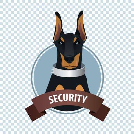 Isolate round icon on white background with European Doberman Pinscher, police guard dog with collar, full face, close-up. Signature Security. Cartoon style