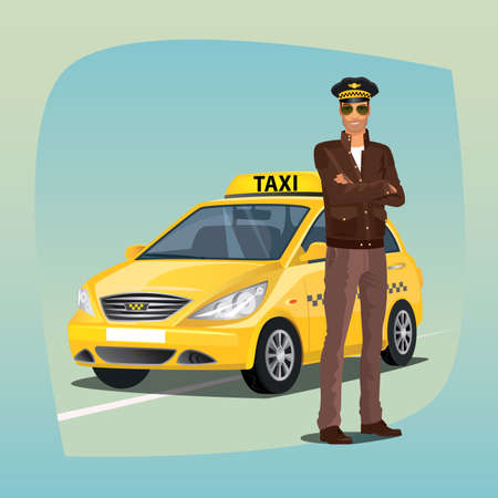 Unshaved taxi driver, standing and smiling, dressed in brown jacket, brown leather gloves, glasses and hat. Yellow car on background. Profession concept.