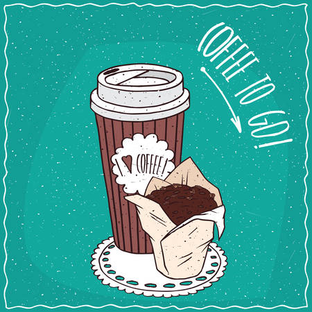afters: Striped paper cup of coffee, on which the inscription I love coffee, with chocolate muffin in white paper muffin cup. Take away concept. cartoon style