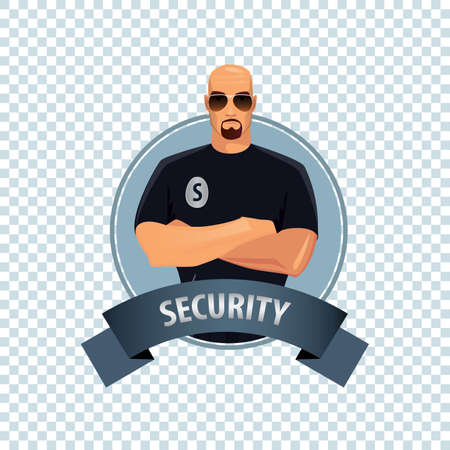 Isolate round icon on white background with security guard, bald man of strong physique in uniform of security services, stands confidently, arms crossed on his chest