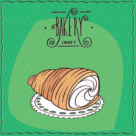 to lie: Buttery, flaky viennoiserie bread roll, known as torpedo dessert, lie on a lacy napkin. Green background and lettering Bakery. cartoon style Illustration