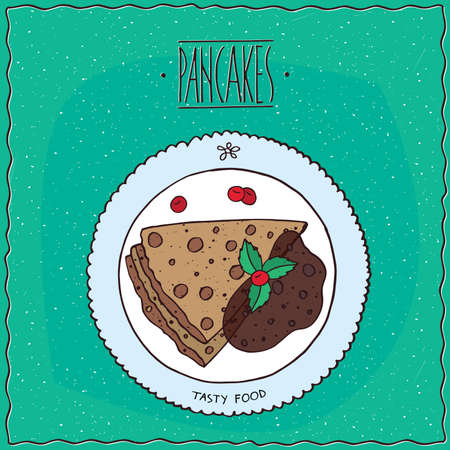 afters: pancakes with chocolate, lie on the plate. Top view. Cyan background. Handmade cartoon style