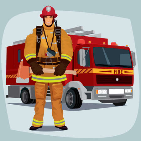 turnout: Firefighter, man from fire brigade, standing full face in form of fireman, with personal protective equipment, bunker or turnout gear. In the background a fire truck Illustration