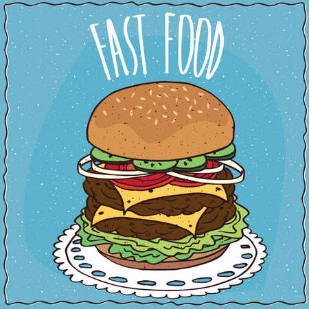 Double cheeseburger with cucumber, onion, tomato, cheese, steak and lettuce, lie on a lacy napkin. Blue background and lettering Fast food. Handmade cartoon style Иллюстрация