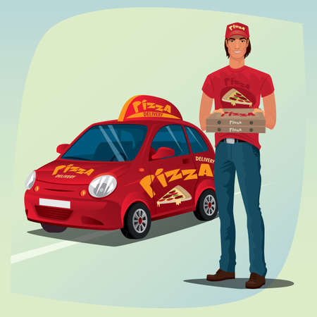branded: Young man standing in casual clothes and holding out pizza boxes. In background, red branded delivery car with  inscription. Food delivery concept Illustration