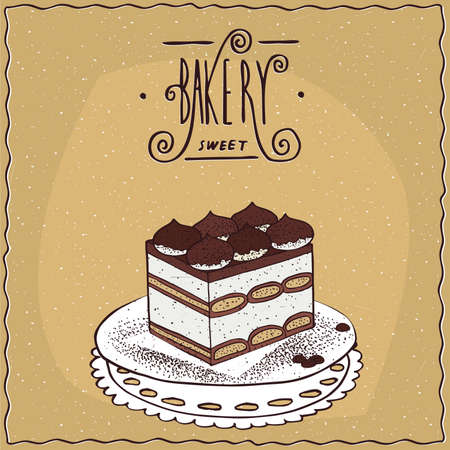 afters: Traditional classic Italian dessert tiramisu, lie on lacy napkin. Beige background and ornate lettering bakery. cartoon style