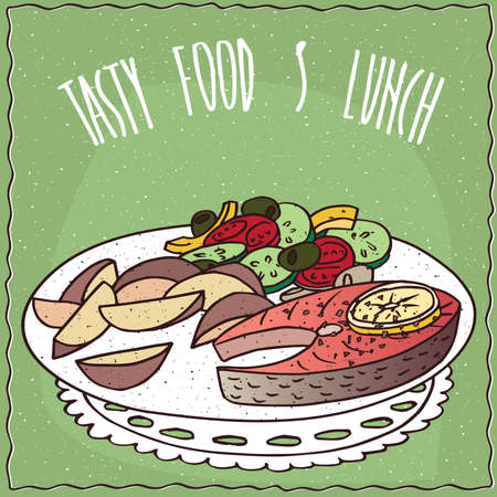 salmon steak: Delicious dish with Slice of Salmon, colorful Vegetable Salad with Olives and Potato Wedges in cartoon style. Lettering Tasty Food And Lunch