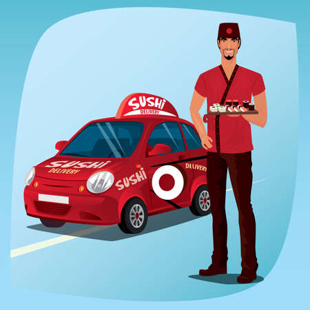 branded: Asian man standing in national clothes and demonstrates sushi and rolls. In background, red branded delivery car with and inscription. Food delivery concept