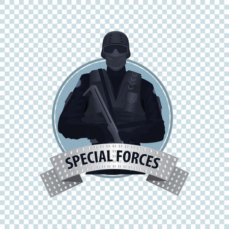 specialized job: Isolate round icon on white background with Special Law Enforcement Unit, man of Specialized Tactical Team, holding automatic firearm. Full face. Cartoon style
