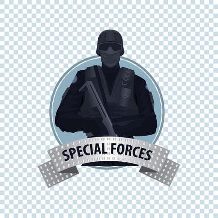 Isolieren runde Symbol auf weißem Hintergrund mit Spezial Law Enforcement Unit Mann von Specialized Tactical Team, die vollautomatische Waffe. Volles Gesicht. Cartoon-Stil Standard-Bild - 65960299