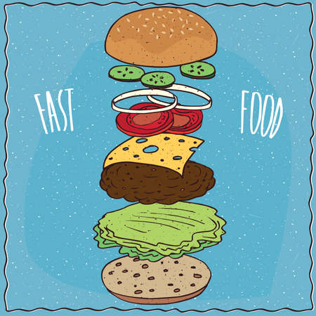 Exploded view of classic cheeseburger with cucumber, onion, tomato, cheese, steak and lettuce. Blue background and lettering Fast food. Handmade cartoon style