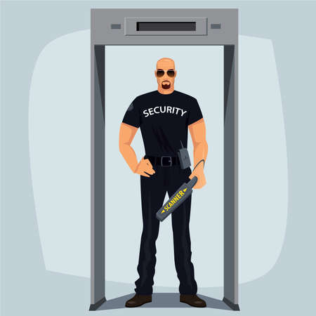 pat down: Safety guard, man in black, ready to frisking, standing at walk through metal detector and keep hand held metal detector. Security Screening or Pat Down concept