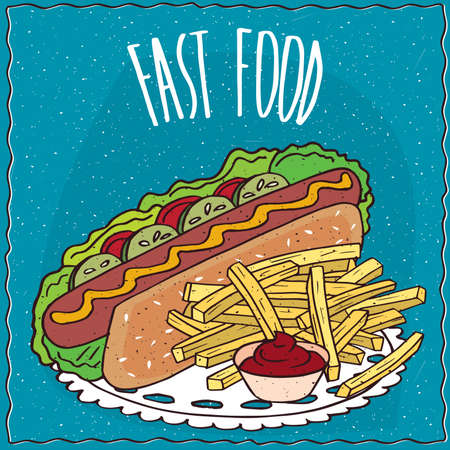 chips and salsa: Appetizing hot dog with cucumbers and tomatoes and french fries or finger chips with red liquid flavoring, similar to salsa sauce or ketchup. Handmade cartoon style