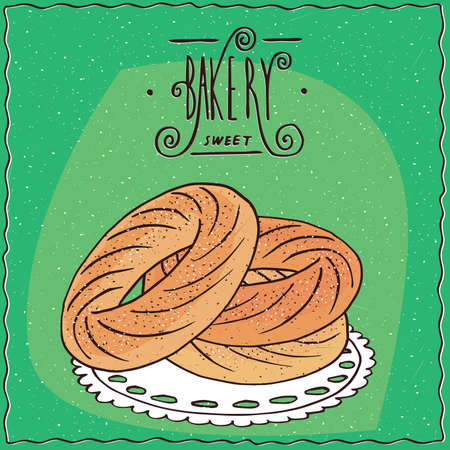 afters: Classic French dessert made of choux pastry and praline flavoured cream, known as Paris-Brest. Green background and lettering Bakery. cartoon style
