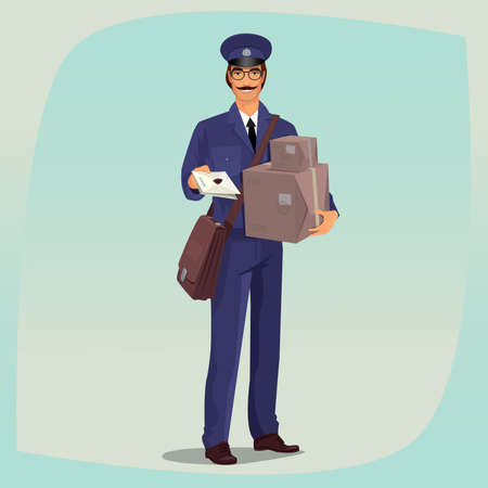 package deliverer: Funny postman with mustache standing in front face, with one hand holding letter and the other holding boxes or parcels. Express delivery mail concept. Cartoon style Illustration