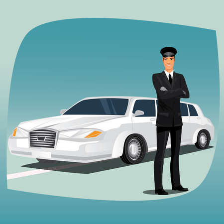 shirt and tie: Chauffeur, driver of luxury car, such as limousine or lincoln, standing, dressed in black suit or tuxedo, dress shirt, tie, black leather gloves and hat