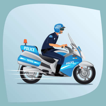 constable: Police officer, man of police force, in uniform of policeman, with typical outfit for law enforcement agency, riding on motorcycle patrol. Side view
