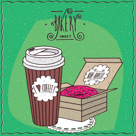 afters: Coffee in paper cup and donut with pink icing in carton box, lie on lacy napkin. To go kit for breakfast concept. Ornate lettering bakery. Handmade cartoon style Illustration