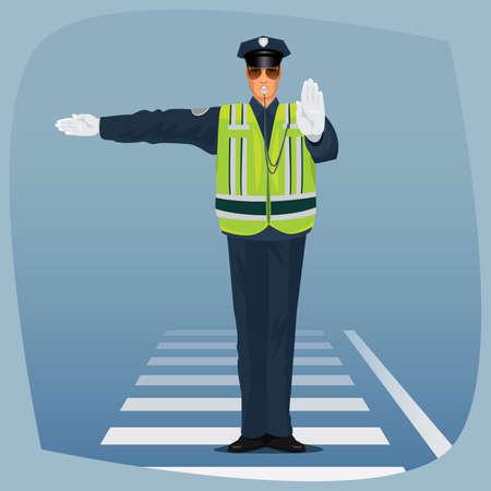 Verkehrspolizist, Offizier der Verkehrspolizei, in Form von Polizisten, mit hoher Sichtbarkeit Kleidung, an der Kreuzung stehen und machte mit seinen Händen zu unterzeichnen. Cartoon-Stil