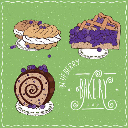 afters: Bakery set with blue berries, cherry or currant. Pie, Biscuit roll, French profiteroles. Handmade cartoon style Illustration