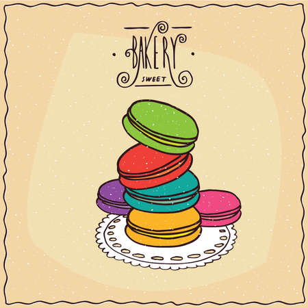 afters: Stack of multi-colored French cookies, known as the macaron, lie on lacy napkin. Beige background and ornate lettering bakery. cartoon style