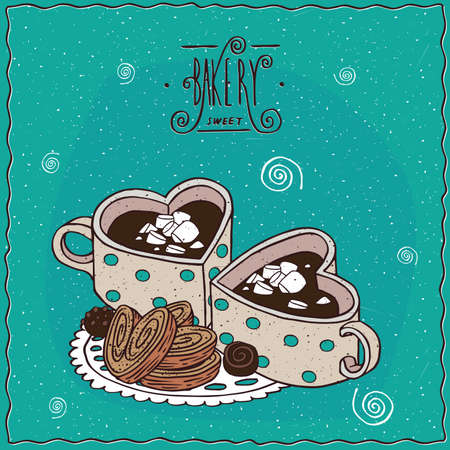 Cute cups of coffee in the shape of heart and chocolate candies and cookies, lie on lacy napkin. Cyan background and ornate lettering bakery. cartoon style Illustration