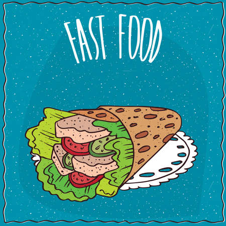 pita bread: Hungarian fast food with twisted pita looks like gyros, lie on lacy napkin. Blue background and lettering Fast food. cartoon style Illustration