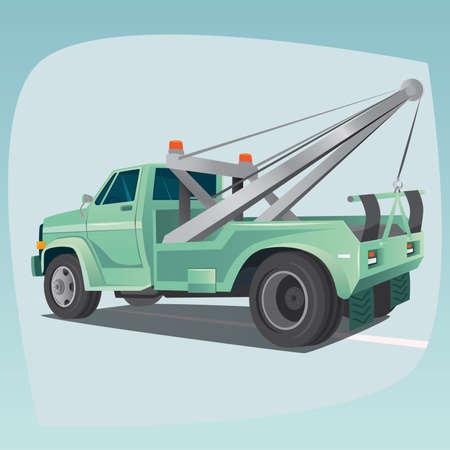 Isoliert, detaillierte Bilder von dreidimensionalen Abschleppwagen, Auto mit Kran, das Hauptgerät der Automechanik, im Cartoon-Stil. Seitenansicht von hinten