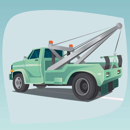 Isolated, detailed images of three-dimensional tow truck, car with crane, the main device of auto mechanics, in cartoon style. Side rear view