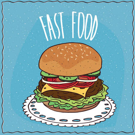 alimentation: Classic cheeseburger with cucumber, onion, tomato, cheese, steak and lettuce, lie on a lacy napkin. Blue background and lettering Fast food. cartoon style Illustration