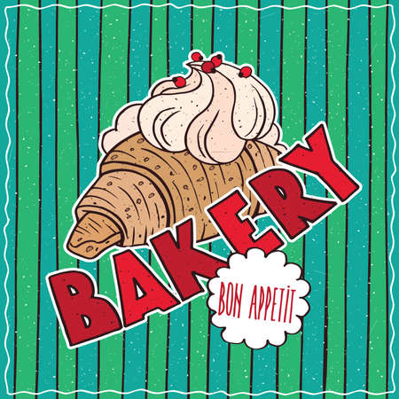 conspicuous: Conspicuous bright colorful food poster with delicious croissant and whipped cream in cartoon style, on green striped background. Lettering Bakery and Bon Appetit Illustration