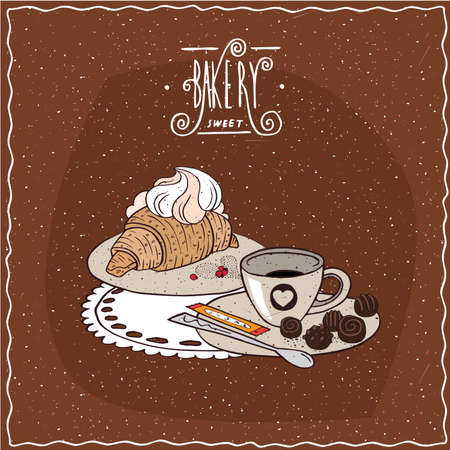 afters: Croissant with whipped cream with cup of tea, lie on lacy napkin. Green background and ornate lettering bakery. Handmade cartoon style Illustration