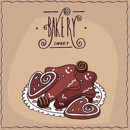 afters: Several different appetizing gingerbread decorated with glaze, lie in a heap on a lacy napkin. Brown background and ornate lettering bakery. Handmade cartoon style