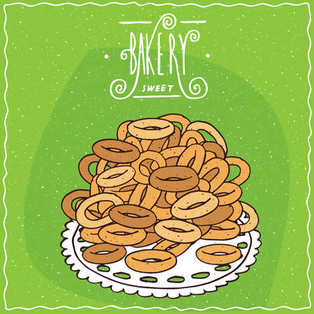 starter: Classic Russian sweet bread rings sushki in heap, lie on lacy napkin. Green background and ornate lettering bakery. Handmade cartoon style