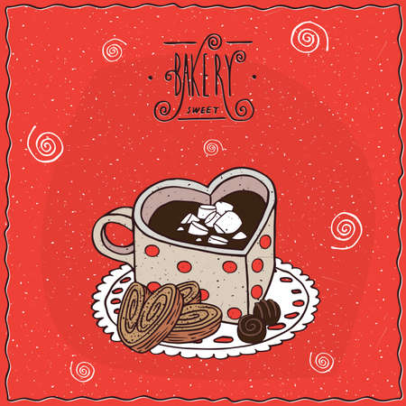 afters: Cute cup of coffee in the shape of heart and chocolate candies and cookies, lie on lacy napkin. Red background and ornate lettering bakery. Handmade cartoon style