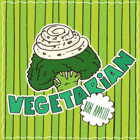 conspicuous: Conspicuous bright colorful food poster with funny broccoli or cauliflower in cartoon style, on green striped background. Lettering Vegetarian and Bon Appetit