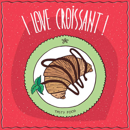 Beautiful croissant drizzled with chocolate, lie on the plate. Top view. Red background. Handmade cartoon style