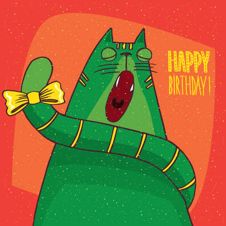 amusing: Funny green cat with yellow bow on its tail sits in full face and yawns with closed eyes. Red background and inscription Happy Birthday! Hand drawn in comic style Illustration