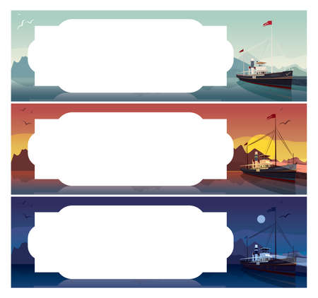 pier: Set of horizontal templates for sea cruise tickets or flyers. Scenic area with old ship in style of retro steamer, at the pier in clear day, at sunset, at night