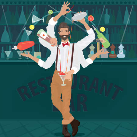 Multi-armed bartender hipster with red bow tie deftly prepares cocktail, simultaneously pours from bottle and shaker, juggles with glasses and other objects