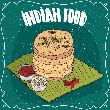 Traditional food, dish of Indian cuisine, pile of round flatbread like Roti, Naan, Chapati, Papadum or Paratha, on banana leaf plate with sauces. Hand drawn comic style Illustration